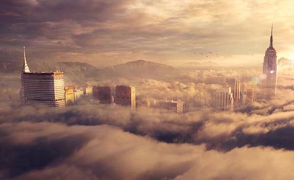 city-above-sky